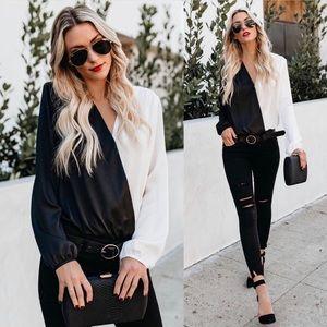 NEVER WORN ▫️◾️Vici Black & White Bodysuit ◾️▫️